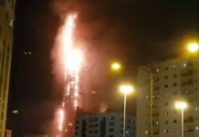 Abbco Tower engulfed by fire in the UAE