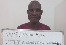 Nuhu Musa was arrested for alleged case of forgery