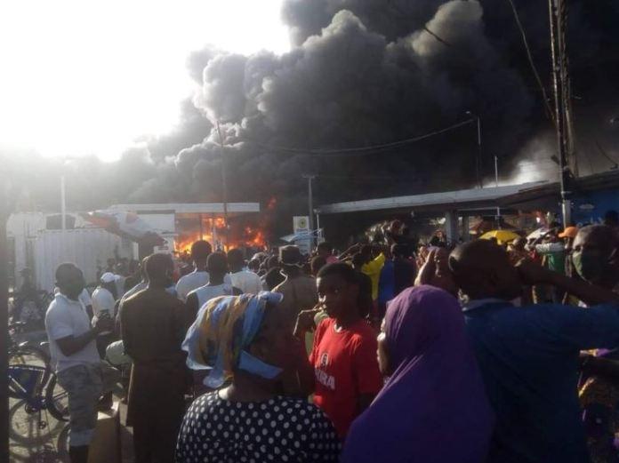 Oando fuel station on fire