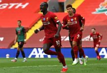 Sadio Mane scores his 20th goal for Liverpool this season