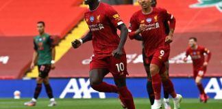 Sadio Mane scores his 20th goal for Liverpool this season