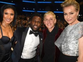 Kevin Hart and Ellen DeGeneres with their partners, Eniko Parrish and Portia de Rossi, in 2017
