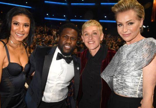Kevin Hart and Ellen DeGeneres with their partners, Eniko Parrish and Portia de Rossi, in 2017