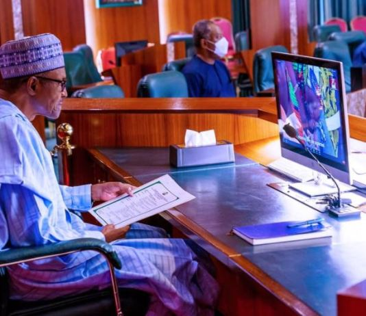 President Muhammadu Buhari at the virtual session of the 70th World Health Organisation (WHO) regional committee for Africa in State House on 25th Aug 2020 Polio