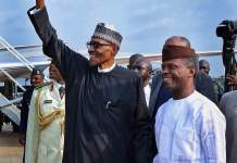 President Muhammadu Buhari is received by Vice President Yemi Osinbajo on 20 Augist 2017 three months after he travelled to the United Kingdom for medical treatment