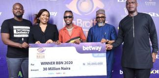 MultiChoice Nigeria MD, John Ugbe presented Laycon with the grand prize