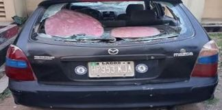 A vandalised car at the Ikere Ekiti police staion