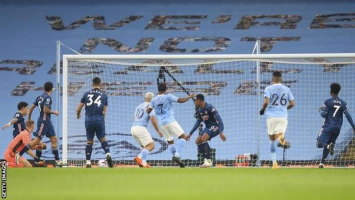 Raheem Sterling scored his fourth goal of the season for Man City