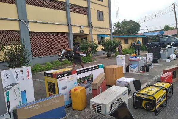 Some of the looted home appliances recovered by the Lagos Police Command