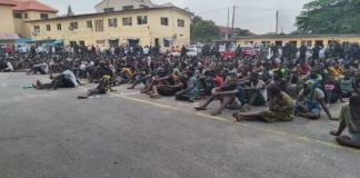 Some of the looters arrested by the Lagos Police Command
