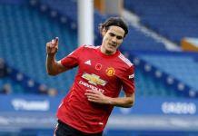 Edison Cavani scores his first Manchester United goal against Everton in the league Europa League