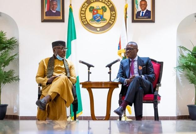 Former Imo governor, Rochas Okorocha pays a visit to Governor Babajide Sanwo-Olu following #EndSARS protests that ravaged the state