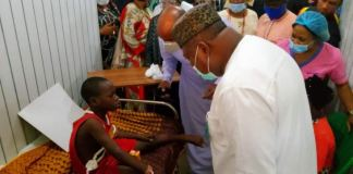 Governor Ugwuanyi visits school children involved in a road accident in Enugu State