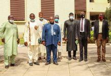 Caption: L-R Mr. Philip Ogunsakin Chairman (FCT) Nigeria Automobile Association & Informal Sector (NATA), Comrade Wisdom Okputa; State Marshal, (FCT) (NATA), Comrade Ifeanyi Chukwu Nebechi and State Secretary (FCT) (NATA), Mr. Tola Johnson, SA MSMEs, Mr. Laolu Akande, SSA Media & Publicity and Comrade Babatunde Yusuf, beneficiary of the grant. Artisans