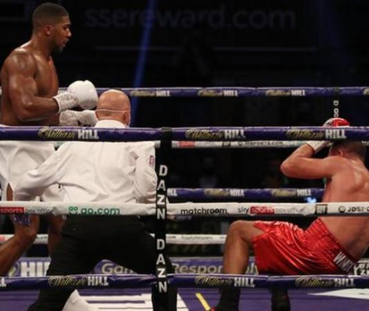 Joshua knocked Pulev twice to the ground in round three and twice more in the ninth and final round