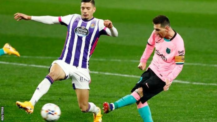 Lionel Messi's 644th Barcelona goal came in the 65th minute of their win over Real Valladolid