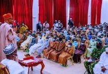 President Muhammadu Buhari addressing the rescued 344 Kankara schoolboys kidnap