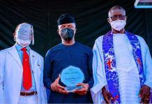 PFN Past President Rev. Felix Omobude and New PFN President Bishop Francis Wale Oke receive Vice President Yemi Osinbajo SAN at the Micheal Okpara Sq. in Enugu State, Nigeria