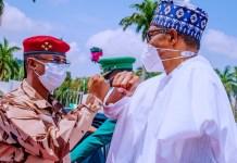 Chad's Interim leader, Lt. Gen. Mahamat Idris Deby Itno, and President Muhammadu Buhari