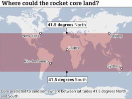 Debris from a Chinese rocket is expected to land on earth
