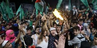 Palestinians poured onto the streets of Gaza soon after the truce began