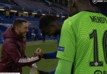 Hazard celebrates with Chelsea players