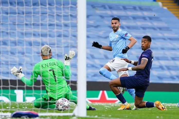 Riyad Mahrez scored twice as Man City beat PSG to reach Champions League final