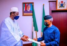 Vice President Yemi Osinbajo SAN receives in audience a special envoy of President Adama Barrow of Gambia led by Hon. Dr. Mamadou Tangara at the State House, Abuja