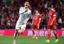 Christensen celebrates Denmark's third goal
