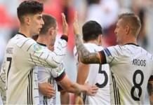Germany Kai Havertz and Toni Kroos celebrate