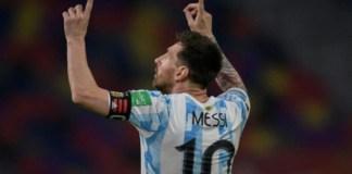 Lionel Messi celebrates goal for Argentina