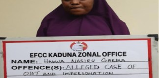 Hauwa Nasiru Garba was arrested by EFCC for impersonation