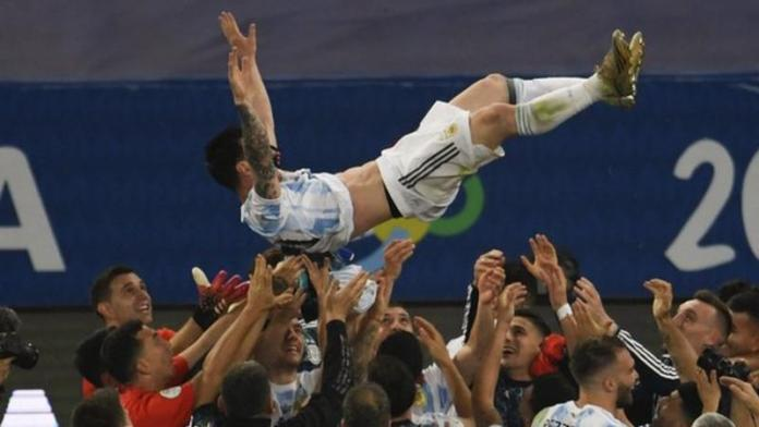 Lionel Messi was thrown in the air by his team-mates at full-time