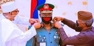 Buhari and Osinbajo decorates COAS with new rank of Lt General