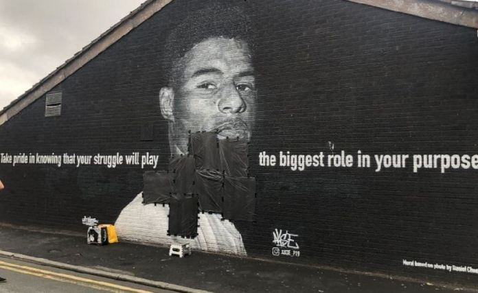 The mural was vandalised shortly after England lost in a penalty shootout