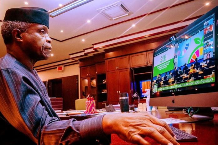 Vice President Yemi Osinbajo delivering a speech at the United Nations Food Systems summit 2021