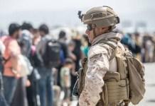 Soldier monitors evacuation in Afghanistan