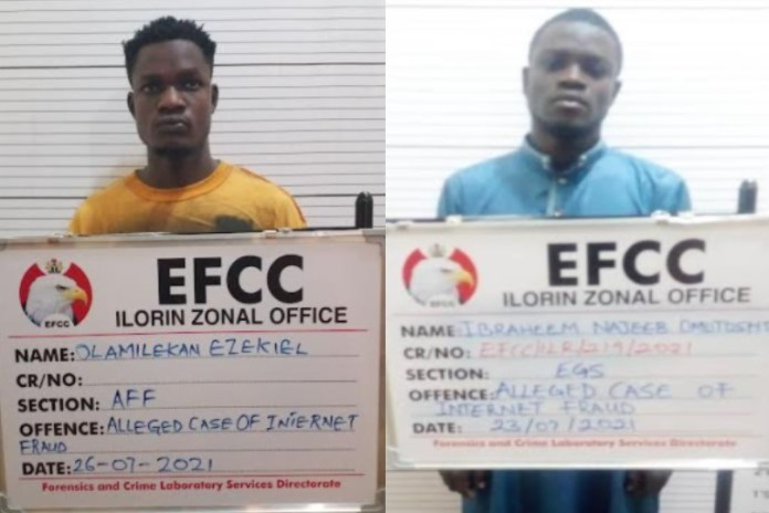 cybercrime Olamilekan Ezekiel and Ibrahim Najeeb were arraigned by EFCC for internet fraud in Ilorin