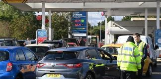 There were queues at many petrol stations on Monday, including in Friern Barnet, north London
