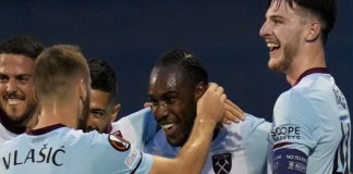 Declan Rice and Michail Antonio scored for West Ham against Dynamo Zagreb