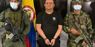 Dairo Antonio Úsuga, better known as Otoniel, arrested after a joint operation by the army, air force and police