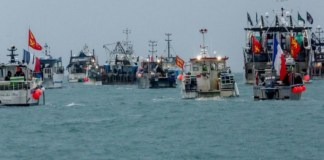 In May, about 60 French fishing vessels staged a protest outside the harbour at St Helier, Jersey