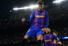 Pique scored Barcelona's first Champions league goal this season