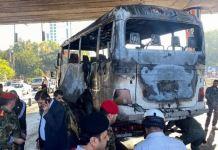 The bus was hit as it passed under Jisr al-Rais bridge in Damascus, Syria