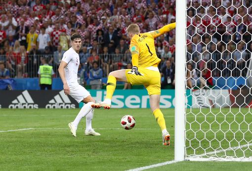 Croatia's Domagoj Vida (not pictured) has an attempt at goal saved by England goalkeeper Jordan Pickford