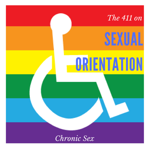 rainbow flag with a white wheelchair overlay - 'the 411 on sexual orientation'