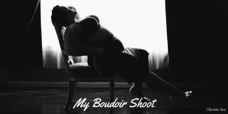 B&W pic with white text at bottom 'My Boudoir Shoot' 'chronic sex' - pic is of Kirsten silhouetted with a black leather skirt and dark bra on arching her back in a chair against a lit window background