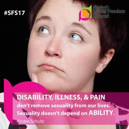 "[photo of a person with short dark hair; overlays of the Woodhull graphic and a white text ""#SFS17"" 