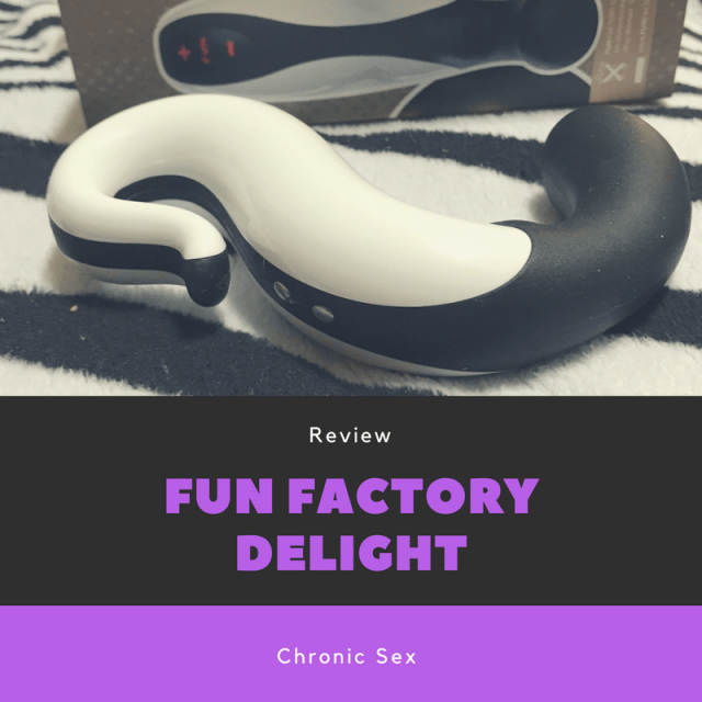 """a black and white S shaped toy against a black and white zebra striped blanket with product box in the background; black text box has white text """"Review"""" purple text """"Fun Factory Delight"""" and below has a purple text box with white text """"Chronic Sex"""""""