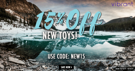"photo of a mountain lake with ice over part of it; blue text ""15% Off"" white text ""New Toys! Use code: NEW15"" black box with white text ""shop now"""